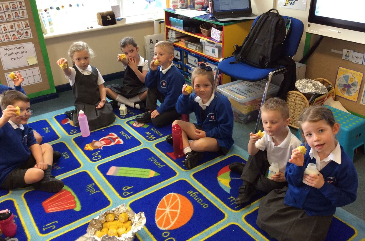 Ducklings Class Enjoy Home Grown Food